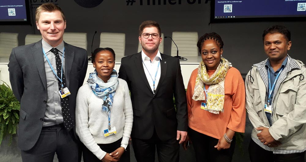 Five members of the WFO Gymnasium programme (from left): Richard Bower, Nono Sekhoto (South Africa), Christoph Daun (Germany), Brenda Tlhabane (South Africa) and Mahess Roopun (Mauritius)