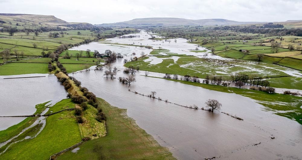 Flooding in Yorkshire Dales following Storm Dennis, 15-16 February 2019