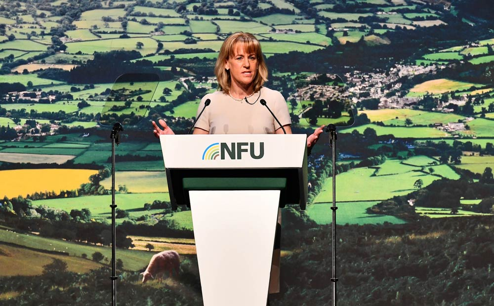 An image of NFU President Minette Batters during her opening address at NFU Conference 2020