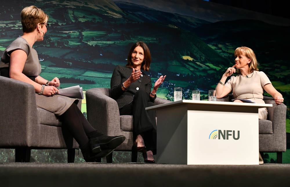 What's next for British Business session at NFU Conference 2020 with NFU President Minette Batters, Dame Carolyn Fairburn DBE Director General CBI, chaired by Penny Haslam Broadcaster and Author