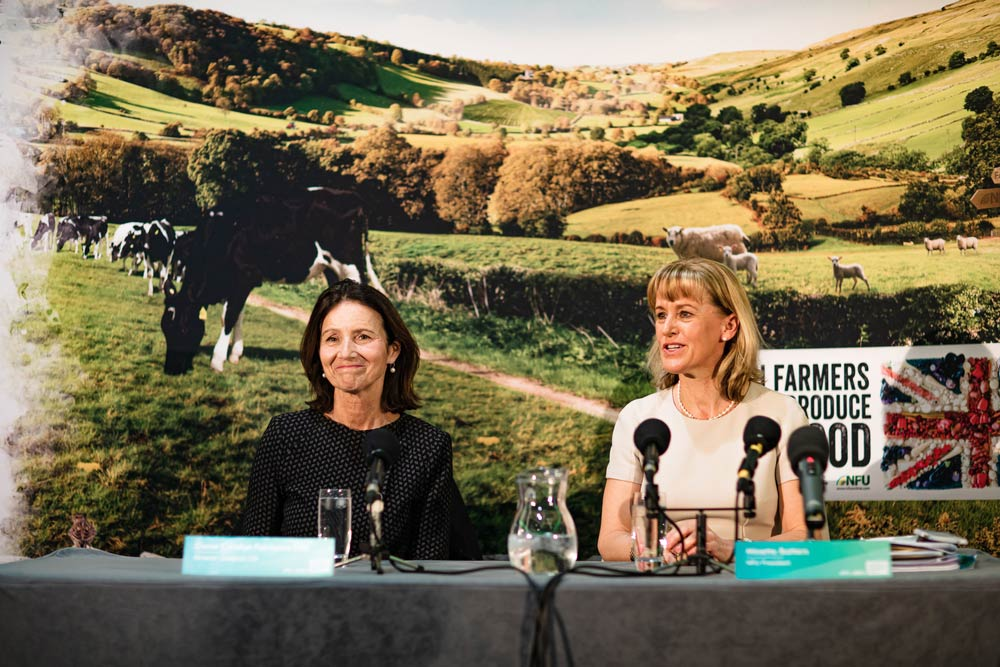 Photos from a press conference with Minette Batters and Carolyn Fairbairn at the NFU Conference following the What's next for British Business session