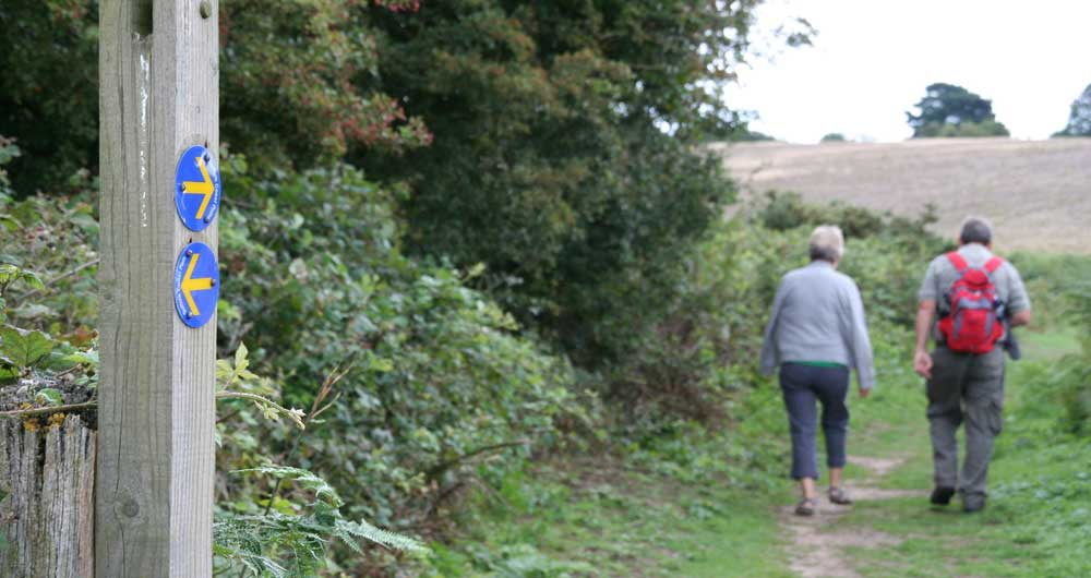 Walkers on a path near Orford