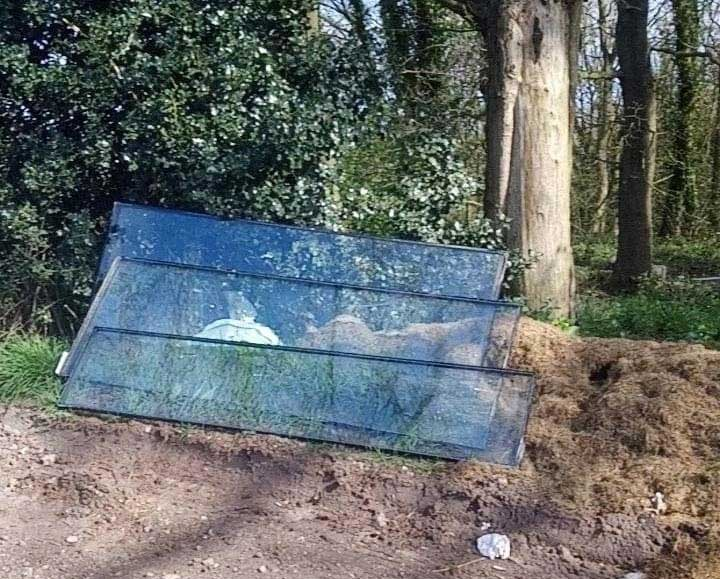 Fly tipped sheets of glass at Uttoxeter