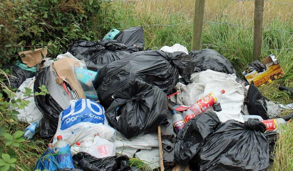 Dumped domestic rubbish in Staffordshire