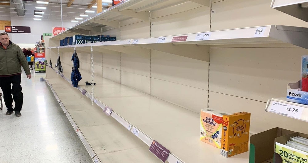 Empty supermarket shelves during the coronavirus pandemic