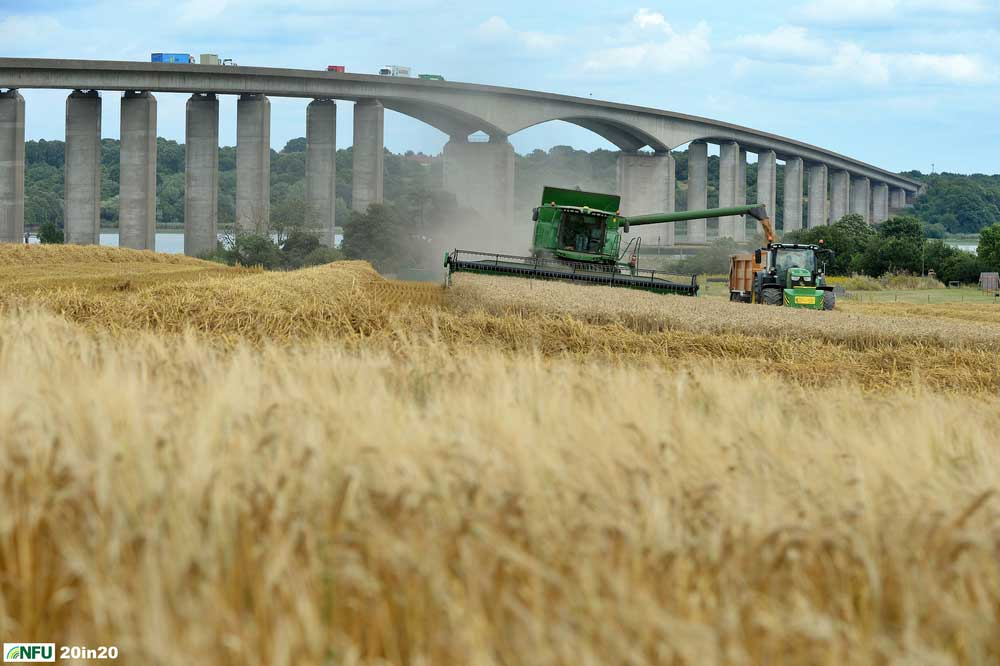 <h4>Harvesting beside Orwell Bridge</h4><p>A combine harvester in action in late July 2019, harvesting the field next to Suffolk Food Hall, overlooking the River Orwell and in the shadow of Orwell Bridge. Photo: Nikon D4 + 80-200mm F2.8 92mm 1/800 @ F8 ISO 250</p><p>Warren's comments: </em>This shot was done at just 15 minutes notice, just as I was meeting my Mum for coffee elsewhere in Ipswich. We both jumped in my car and charged over to Wherstead to get the images.</em></p>