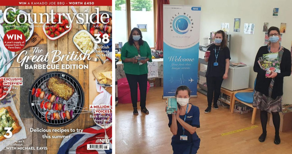 An image of Countryside magazine's August 2020 edition, alongside staff from Hillingdon Hospital