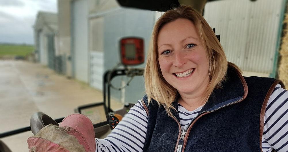 Yorkshire farmer, Angela Kirkwood sitting in her tractor