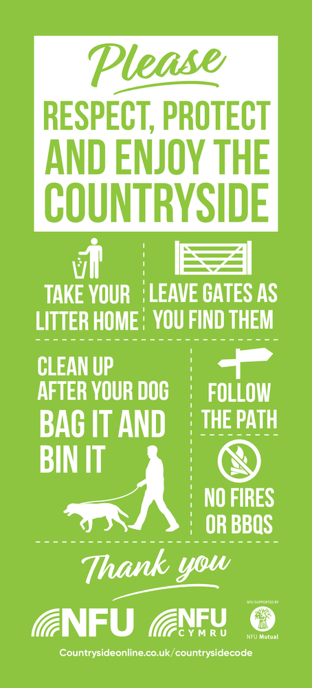 A picture of the new gatepost sign asking members of the public to respect, protect and enjoy the countryside