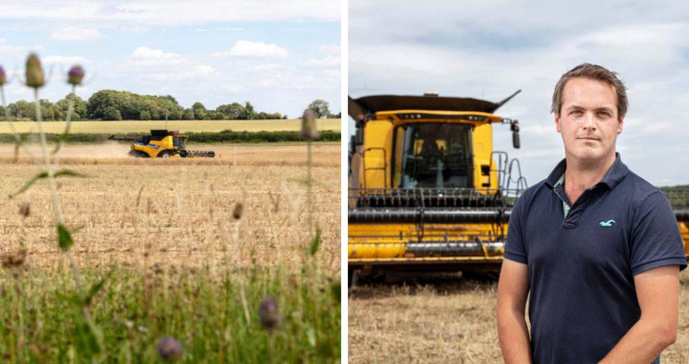 Ed Horton and Combine Harvester