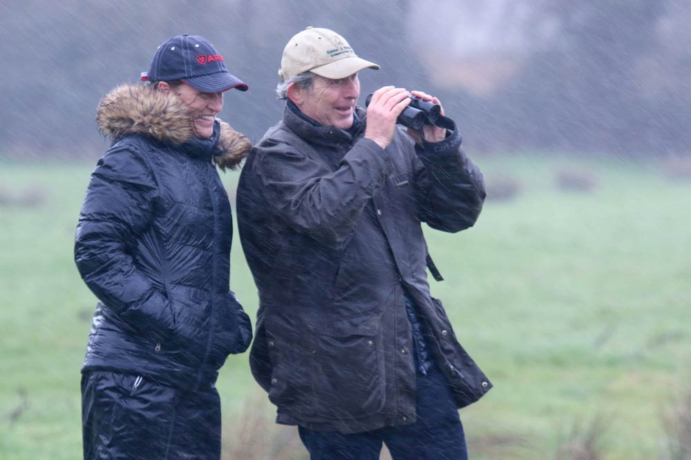 Minette Batters, NFU President, and GWCT's Peter Thompson spot birds in the driving rain