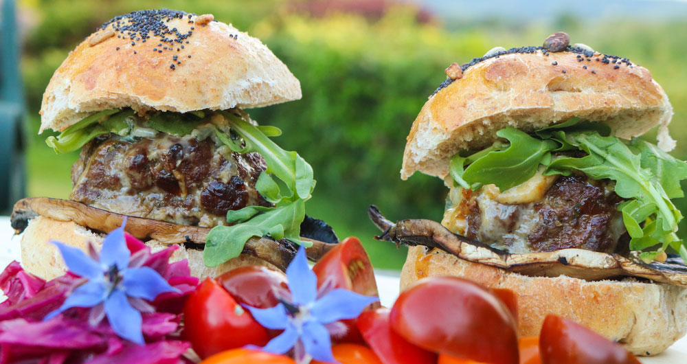 Caramelised red onion chutney burgers