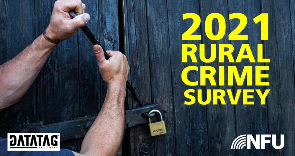 A picture showing someone breaking into a barn with a crow bar. Text over the top reads 2021 Rural Crime Survey