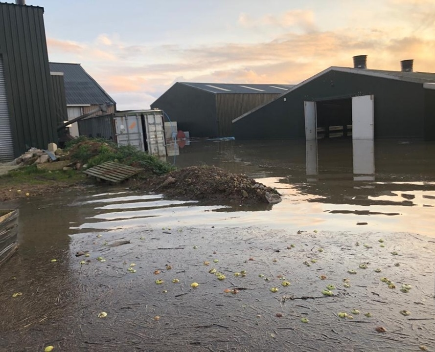 This farmyard in Lincolnshire was completely inundated by flood water