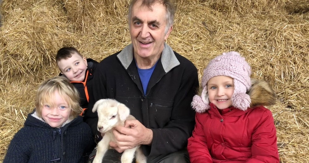 Farmer Russell Toothill with pupils from Auckley School