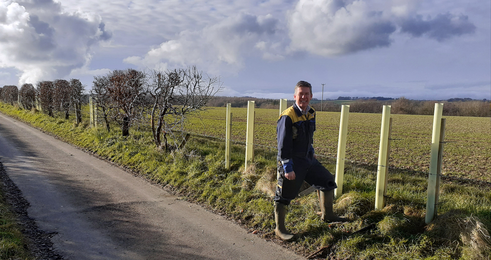 Gloucestershire NFU chairman James Cox with his freshly planted trees