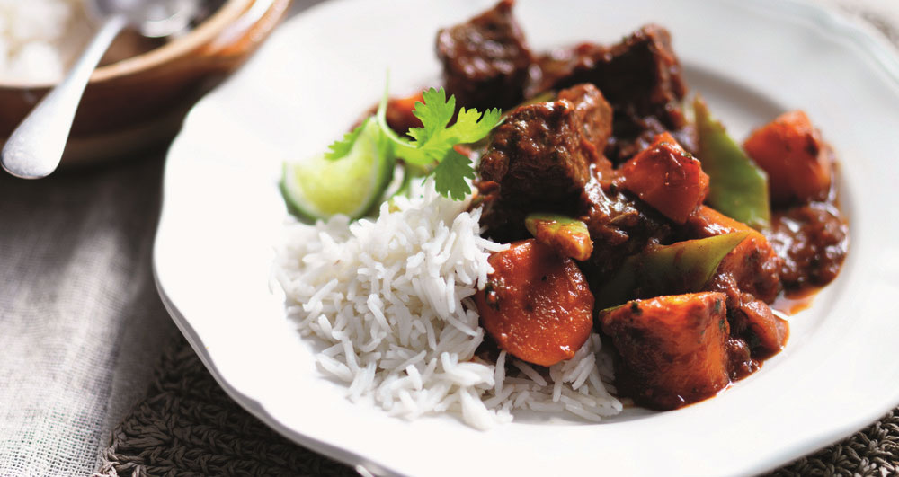 Spicy beef curry with rice